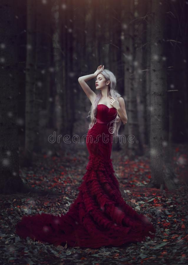 Beautiful woman with long white hair posing in a luxurious red dress with a long train standing in a autumn pine forest stock image