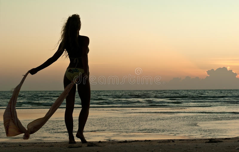 Beautiful woman look on sunset stock images