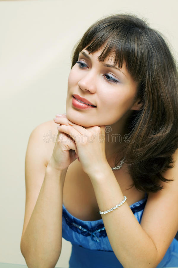 Beautiful woman looking away stock photo