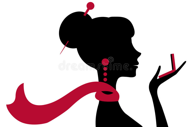 Beautiful woman looking at the mirror royalty free illustration