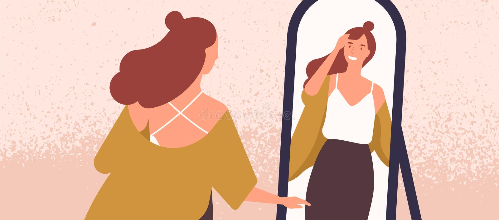 Beautiful woman looking at mirror flat vector illustration. Self acceptance and confidence concept. Young fashionable. Lady reflection in mirror. Attractive vector illustration