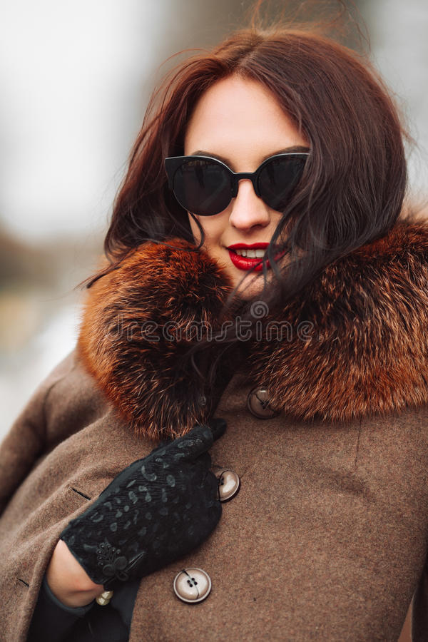Beautiful Woman in Luxury Fur Coat. Stylish brunette woman in brown coat. stock images