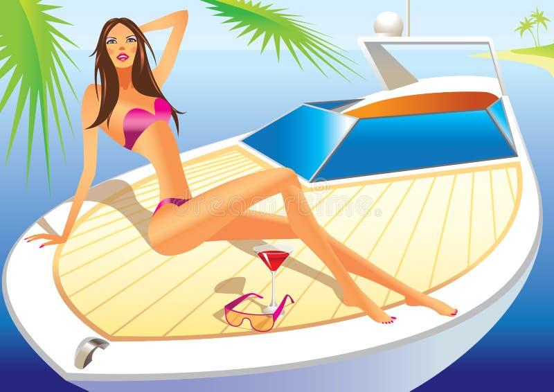 Beautiful woman on the luxury yacht royalty free illustration