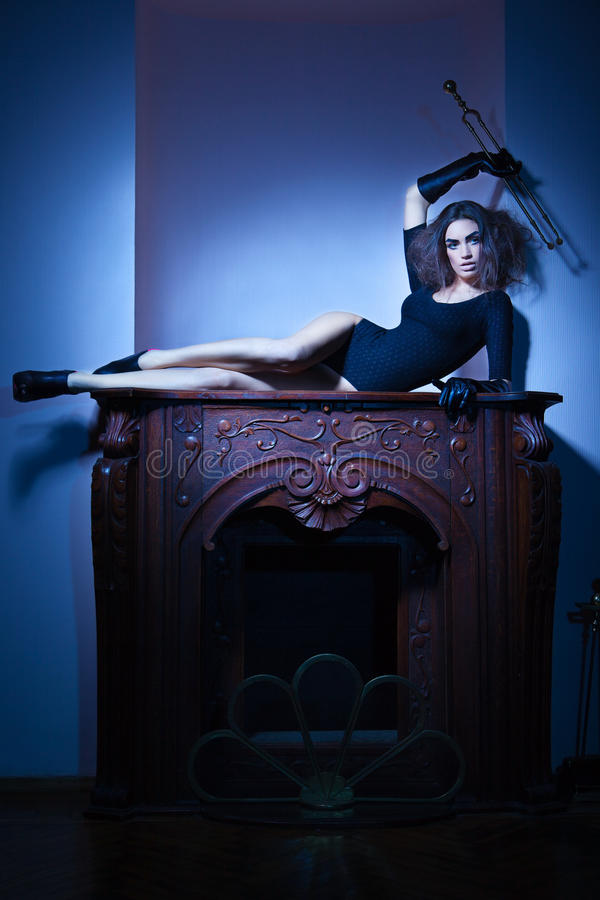 Free Beautiful Woman Lying On Fireplace In Old House Royalty Free Stock Photos - 26935088