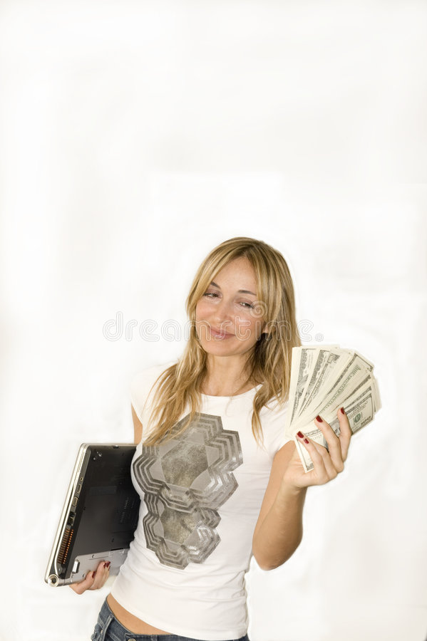 Beautiful woman makes money stock images