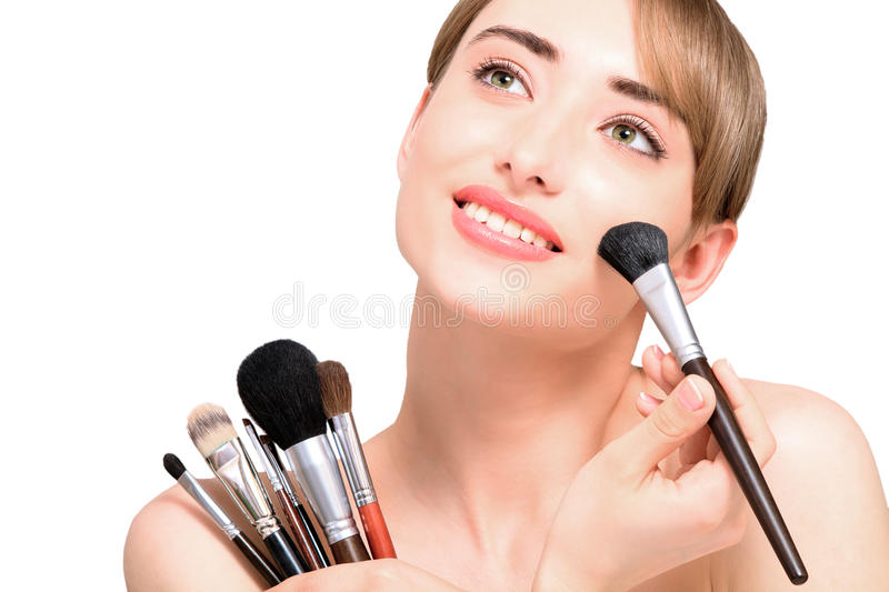 Download Beautiful Woman With Makeup Brushes - Isolated Royalty Free Stock Image - Image: 25736576