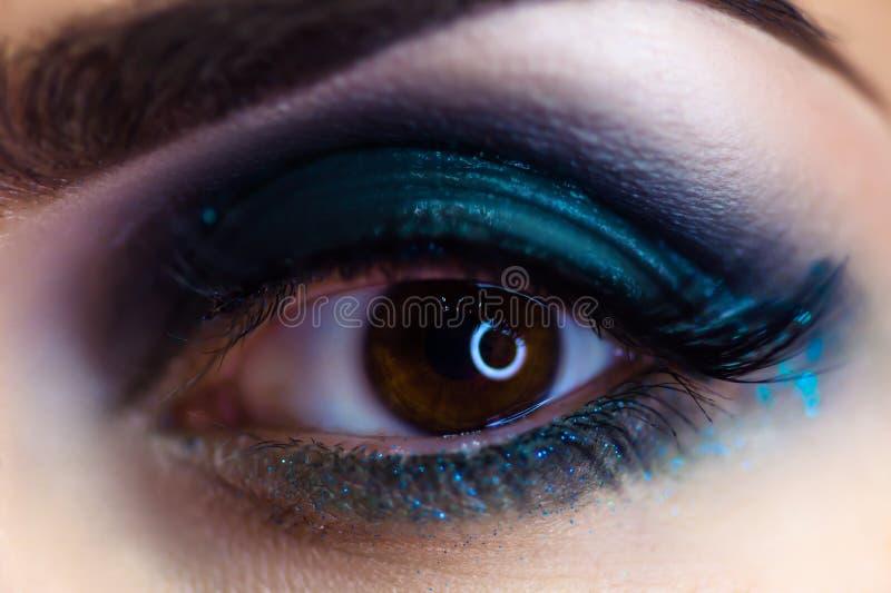 Beautiful woman makeup eye macro stock images