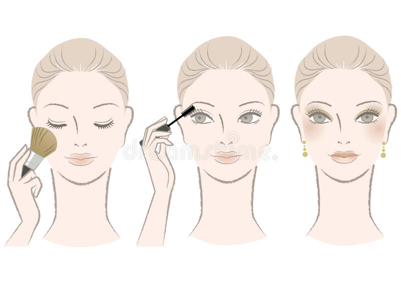 Beautiful woman on makeup procedure vector illustration