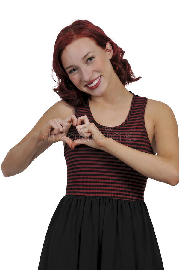 Woman Making Heart Sign royalty free stock photo