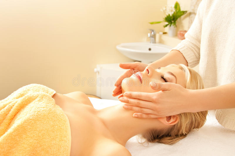 Download Beautiful Woman In Massage Salon Stock Image - Image of professional, hands: 39514915