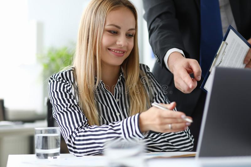 Beautiful woman in meeting room stock images
