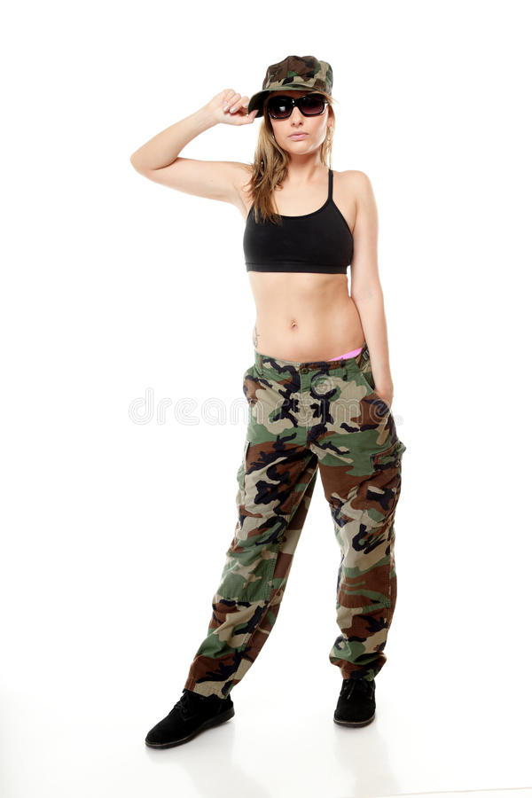Beautiful woman in military clothes. royalty free stock images