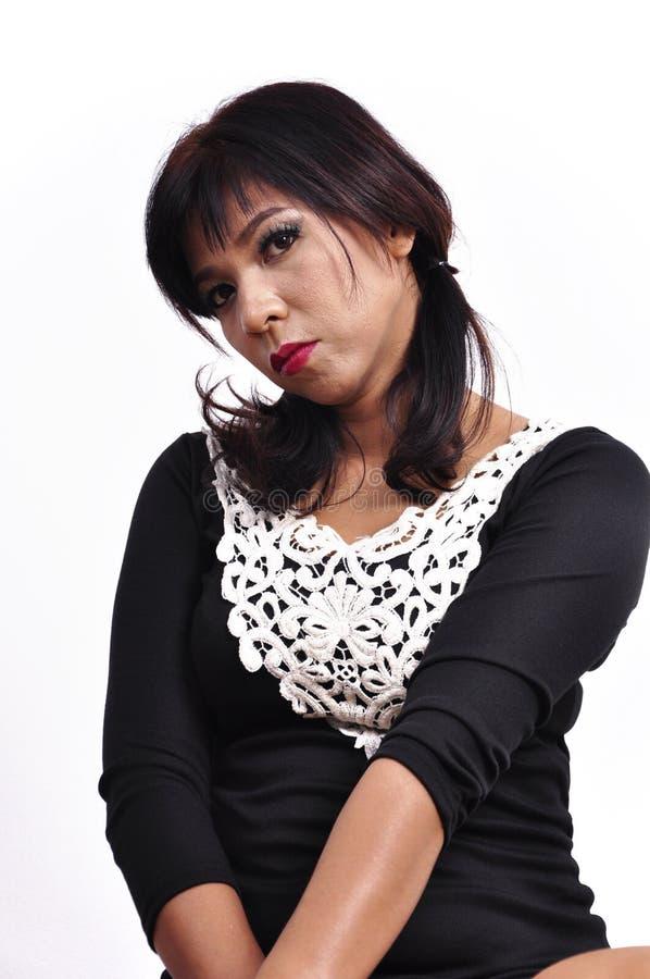 Download Beautiful Woman Mini Black Dress Faces The Camera Stock Image - Image of cloth, fashion: 39507741