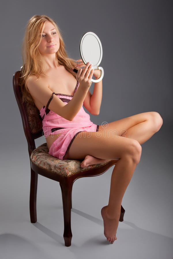 Download Beautiful Woman With Mirror Stock Image - Image: 19087143