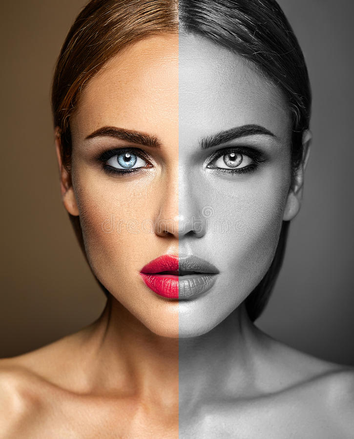 Beautiful woman model lady with fresh daily makeup stock image