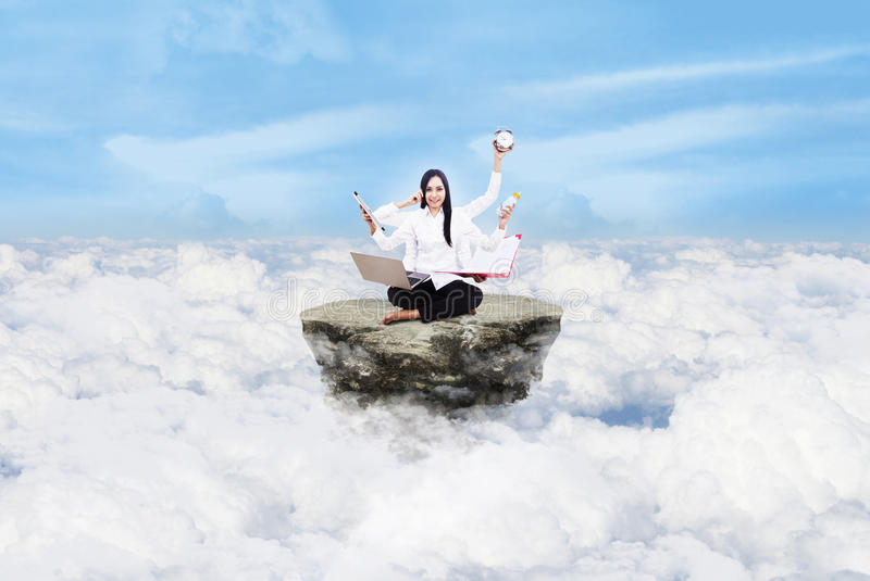 Download Beautiful Woman Multitasking Above Clouds Royalty Free Stock Image - Image: 28748896