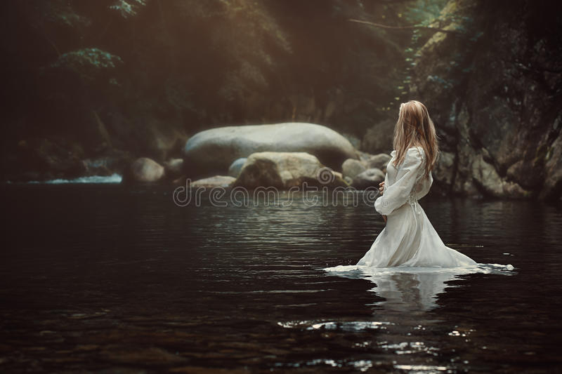 Download Beautiful Woman In Mystical Stream Stock Image - Image of purity, river: 90463077