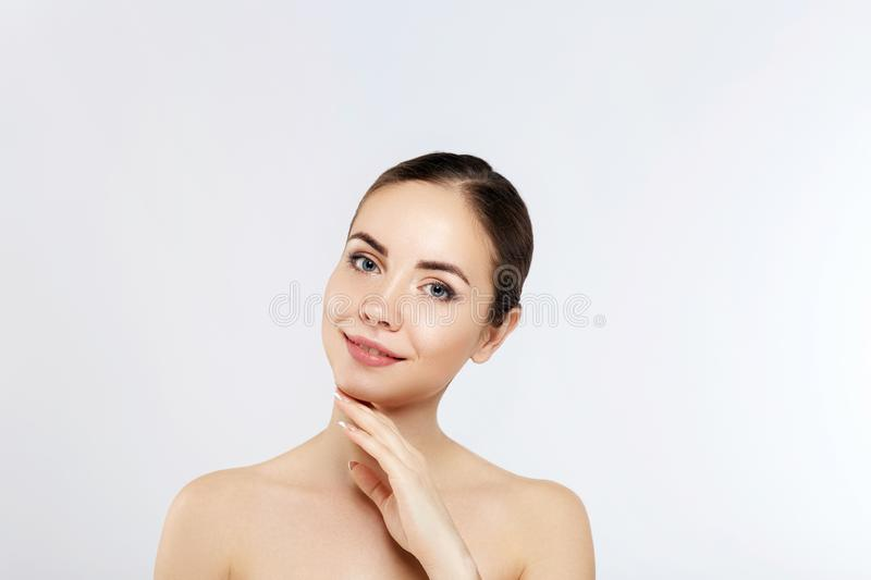Beautiful woman with nature makeup. Beauty portrait of female face with natural skin. Skin care. Cosmetology, royalty free stock photos
