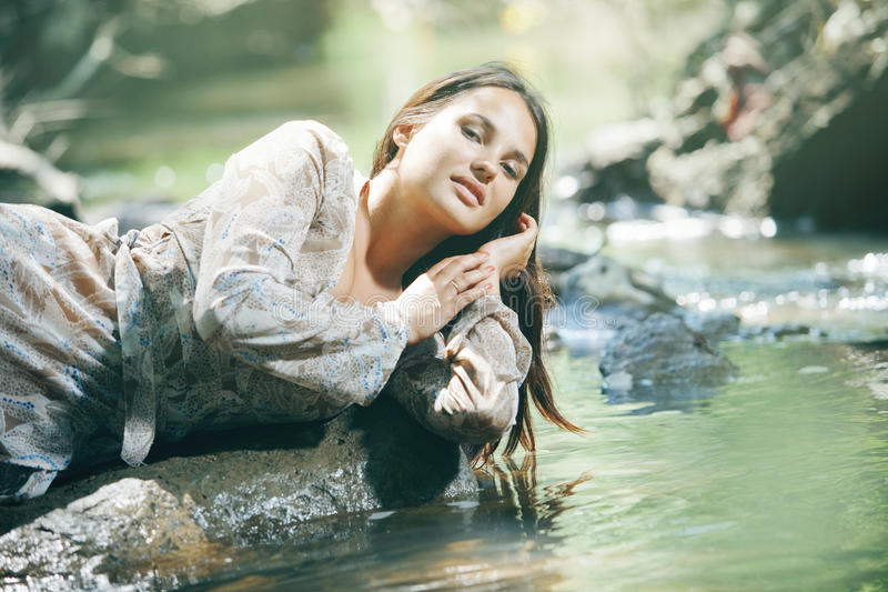 Download Beautiful woman near water stock image. Image of fresh - 25887029