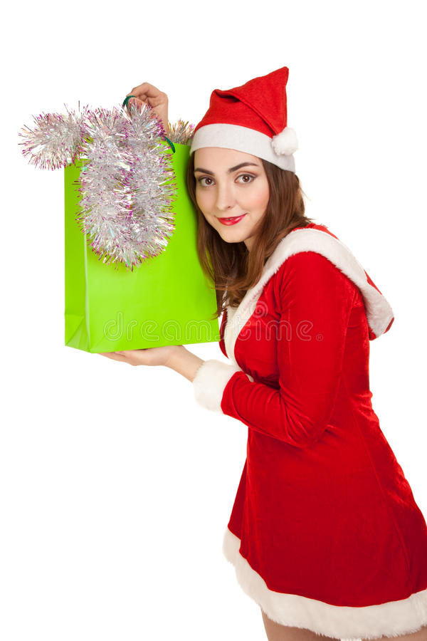 Beautiful Woman In New Year Costume With Spangle  Isolated On Wh Stock Image