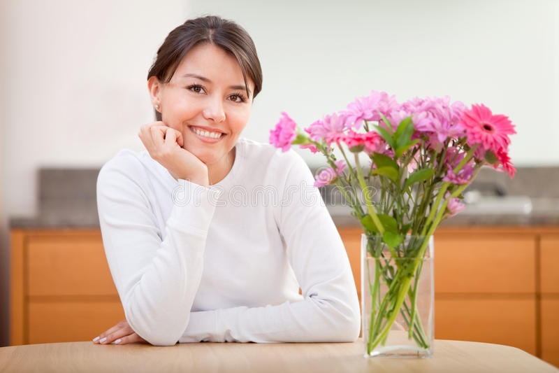 Download Beautiful Woman Next To Flowers Stock Image - Image: 15653967