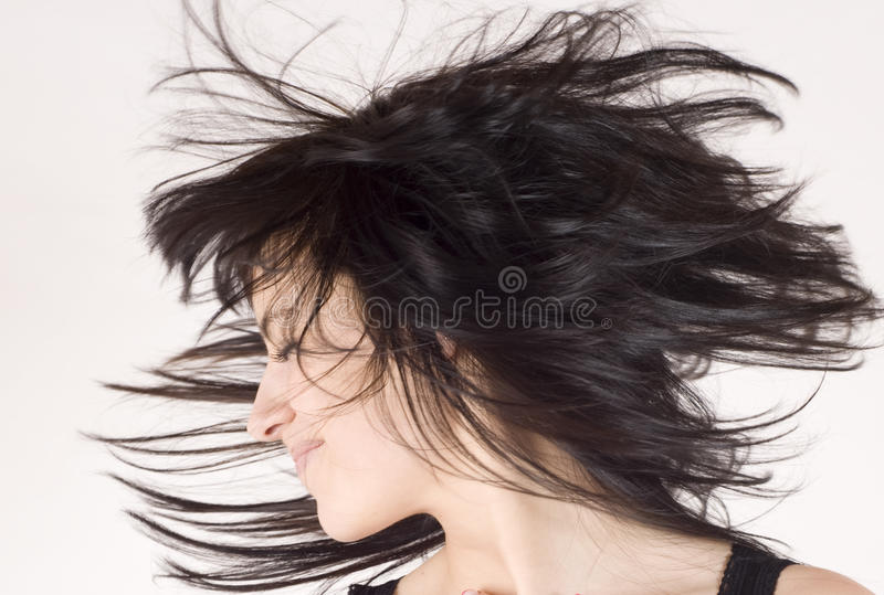 Beautiful woman with nice waving hair royalty free stock photo