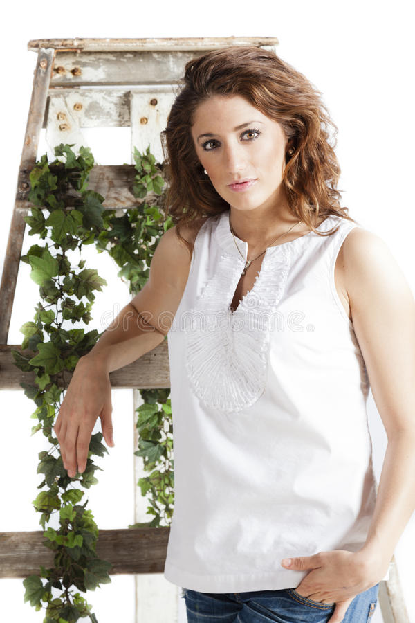 Download Beautiful Woman With An Old Ladder Stock Image - Image of casual, woman: 28085703
