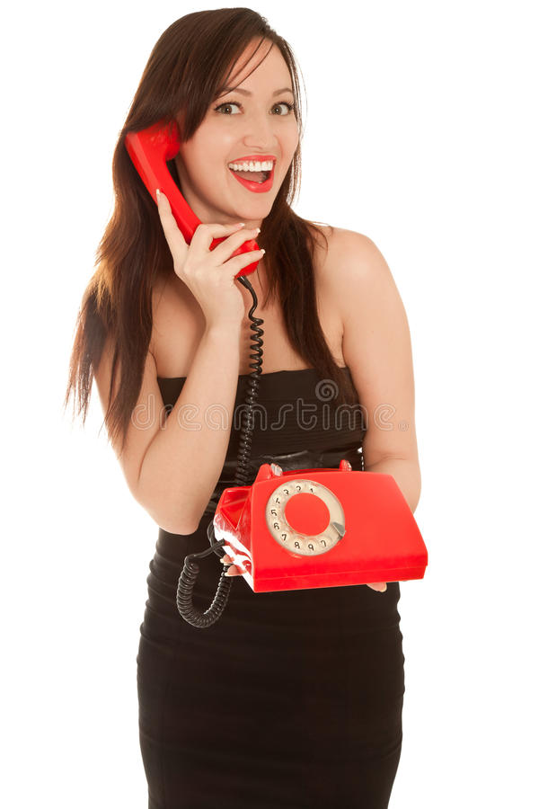 Download Beautiful Woman With Old Red Telephone Talking Royalty Free Stock Photography - Image: 21498157