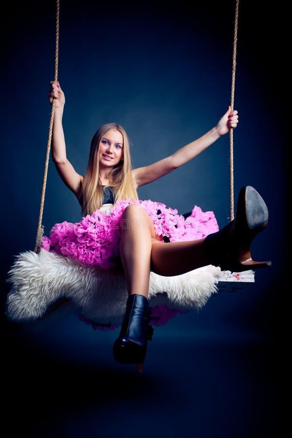 Free Beautiful Woman On Swing Royalty Free Stock Photo - 12945725
