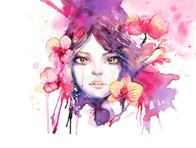 Beautiful woman with orchid flowers - watercolor fashion illustration with female portrait. And pink orchids. Elegant painting isolated on white with vibrant royalty free illustration