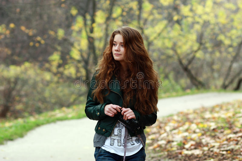 Beautiful woman on outdoor royalty free stock photo