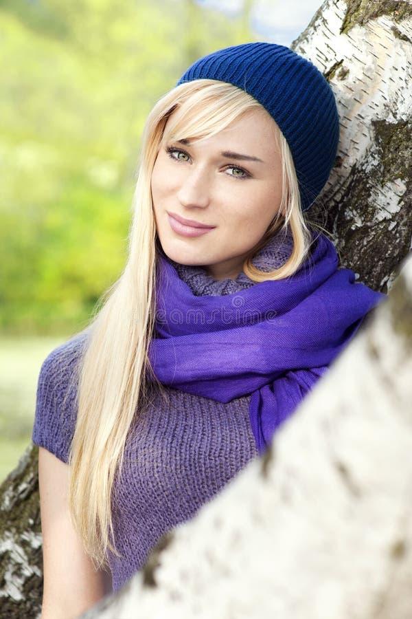 Beautiful woman- outdoor spring portrait. Beautiful blond woman- outdoor spring portrait stock photo
