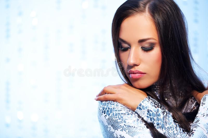 Beautiful woman over abstract background royalty free stock image