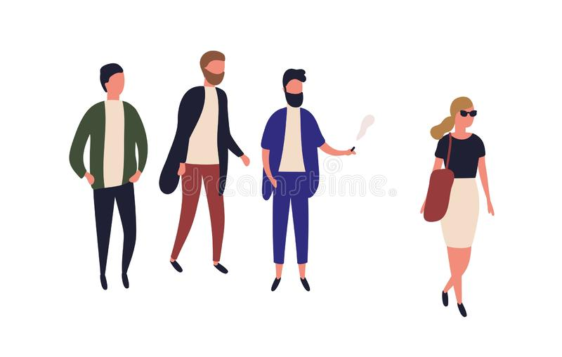 Beautiful woman passing by group of young men. Street harassment, catcalling and wolf-whistling. Offensive or abusive. Behavior, domination and assault. Flat vector illustration