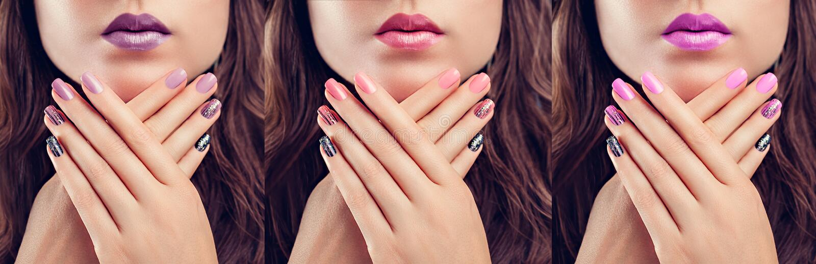Beautiful woman with perfect make-up and manicure. Nail design. Fashion. Three shades stock image