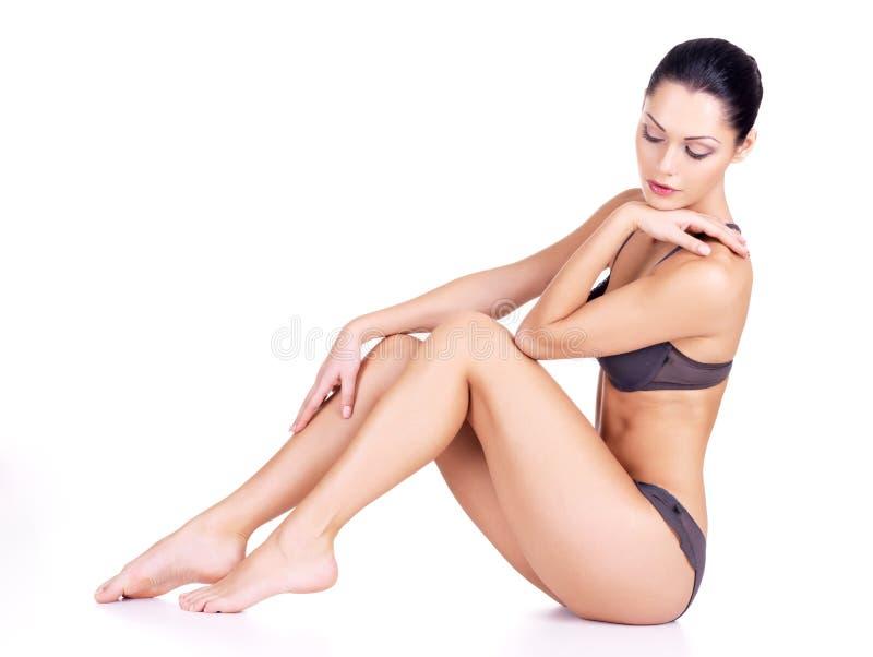 Beautiful woman with perfect slim body stock image