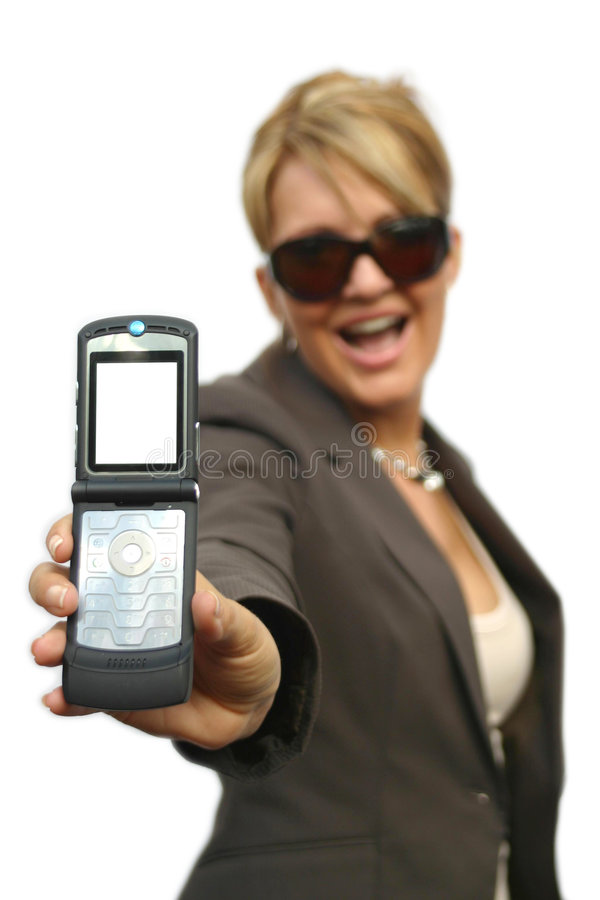 A beautiful Woman with phone. A beautiful Woman with a mobile phone - white display stock image
