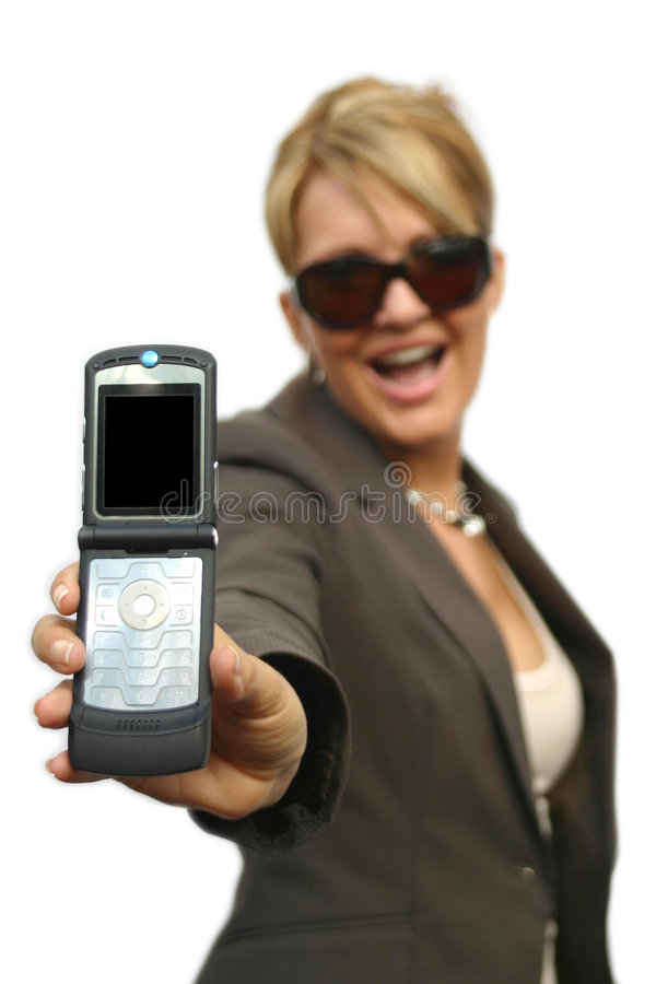 A beautiful Woman with phone. A beautiful Woman with a mobile phone - black display stock photography