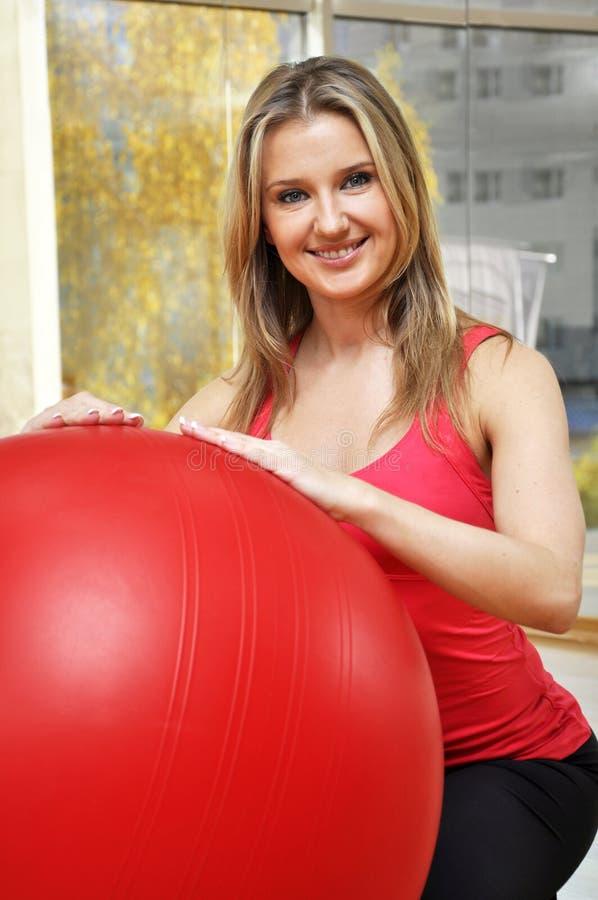 Beautiful Woman With Pilates Ball Stock Photography