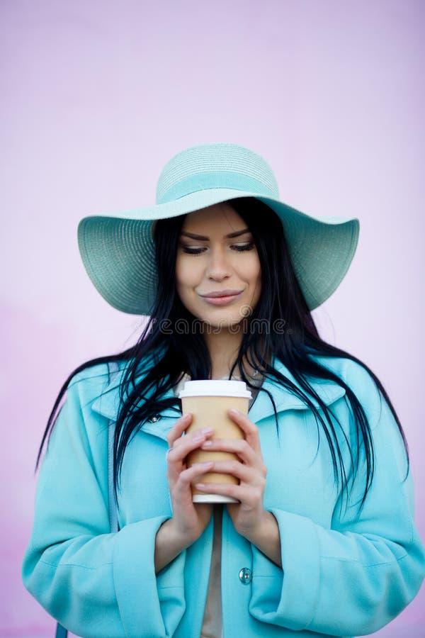 Beautiful woman on pink background stock image