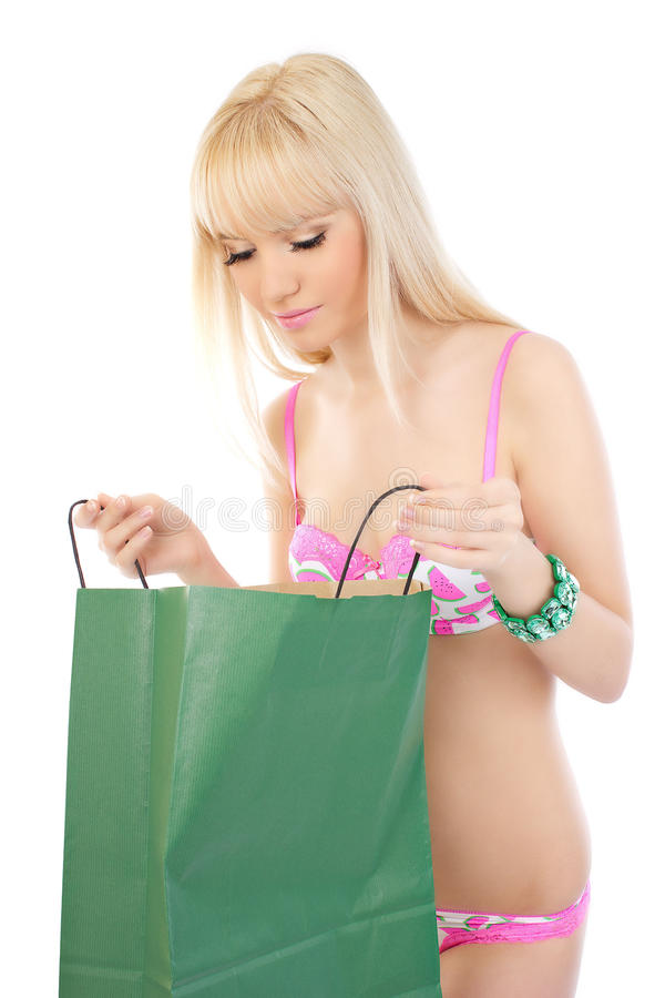 Beautiful Woman In Pink Lingerie With Shopping Bag Royalty Free Stock Images