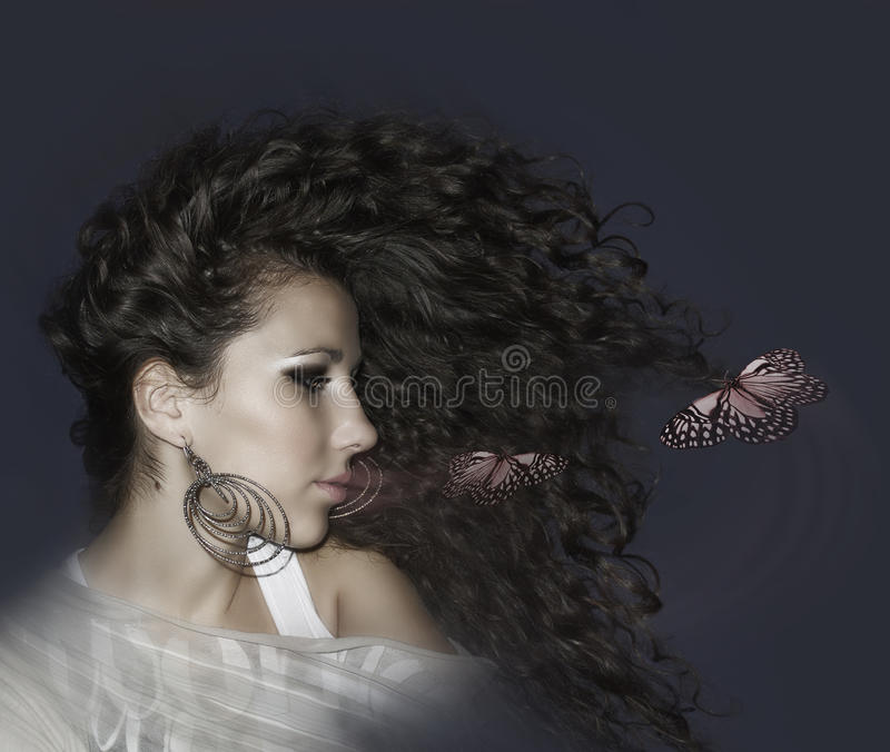 Download Beautiful Woman And Butterfly Stock Image - Image: 29903229
