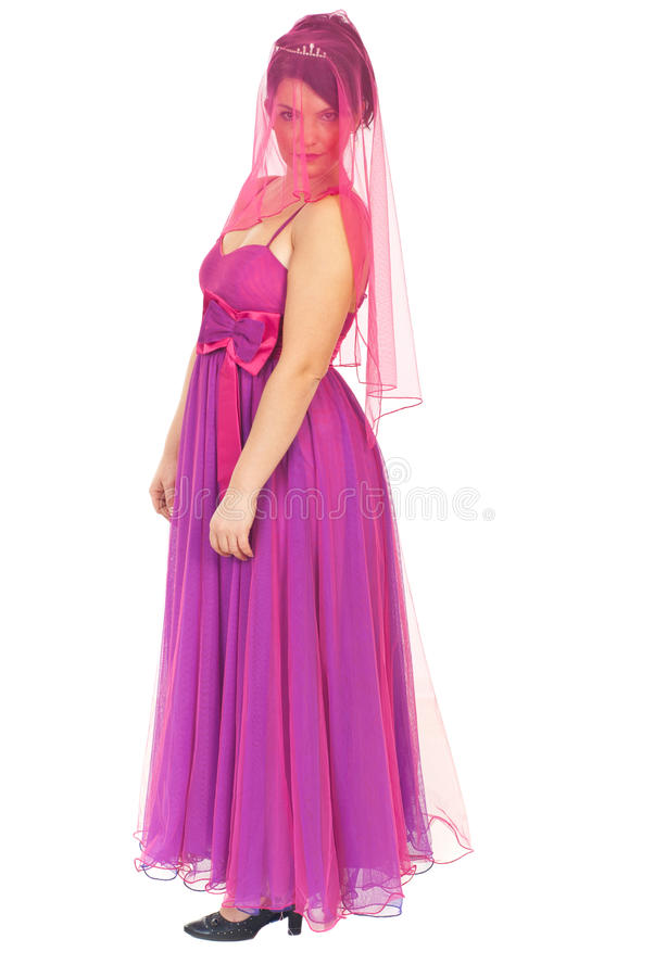Beautiful woman with pink veil on face royalty free stock photo
