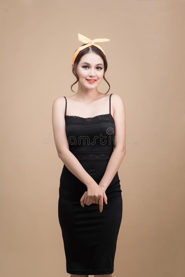 Beautiful woman pinup style portrait. Asian woman. royalty free stock images