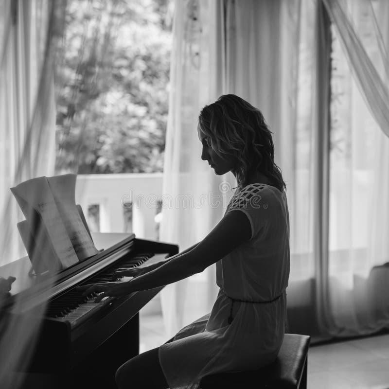Beautiful Woman Playing Piano Black And White Stock Photo Image