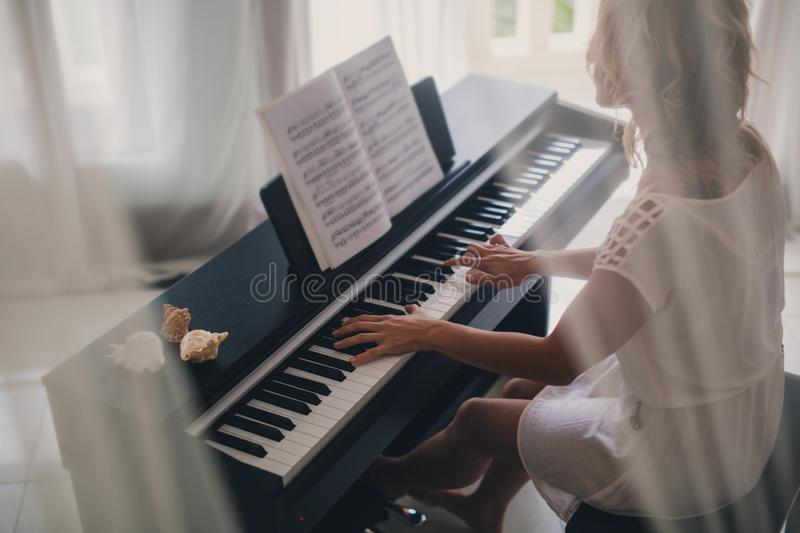 Beautiful Woman Playing Piano Stock Image Image Of Concert Chord