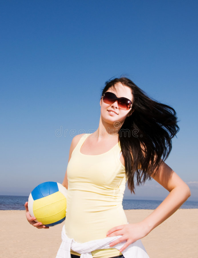 Download Beautiful Woman Playing Volleyball At The Beach Royalty Free Stock Photo - Image: 9028675