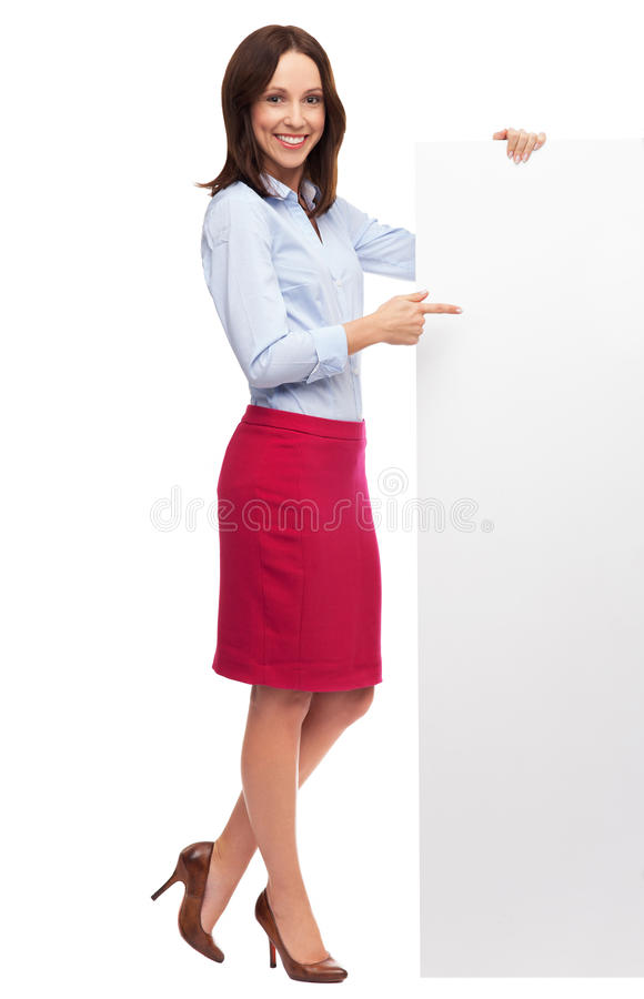 Beautiful Woman Pointing At Blank Board Stock Photography