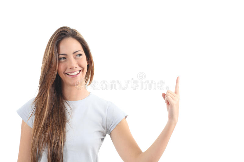 Beautiful woman pointing a blank text stock photography