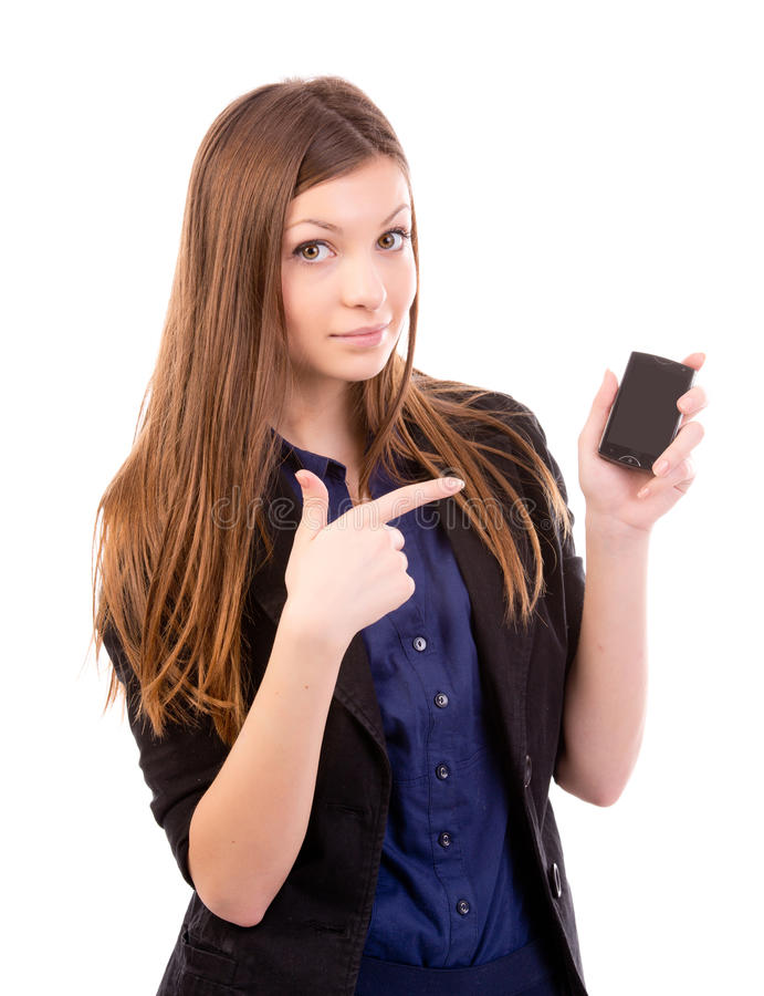 Download Beautiful Woman Points To Phone Stock Image - Image: 28221897